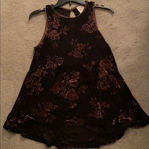 Velvet/sheer Knox Rose sleeveless top